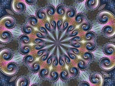 Digital Art - Pastel Abalone Shell Spiral Fractal Abstract Kaleidoscope Mandala K04 by Rose Santuci-Sofranko
