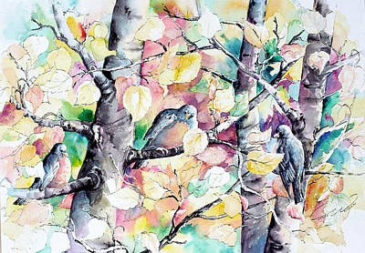 Painting - Pastel Aspen With Robins by Connie William