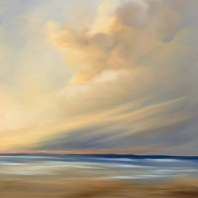 Abstract Beach Landscape Digital Art - Pastel Beach Cloud by Anthony Fishburne