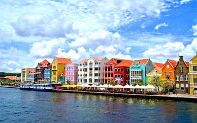 Pastel Building Coastline Of Caribbean Art Print