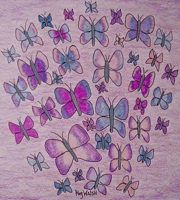 Drawing - Pastel Butterflies by Megan Walsh