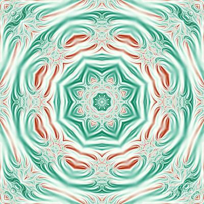 Computer Art Digital Art - Pastel Christmas Fractal Mandala by Marv Vandehey