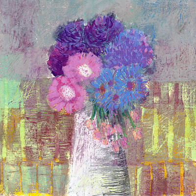 Painting - Pastel Colored Flower Still Life by Martin Stankewitz