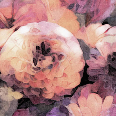 Mixed Media - Pastel Dahlias In Watercolor by Susan Maxwell Schmidt