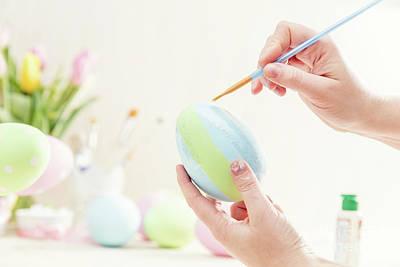 Decoupage Photograph - Pastel Easter Egg Handmade In A Worshop. by Michal Bednarek