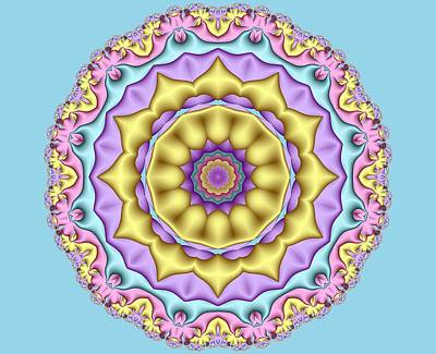 Digital Art - Pastel Fractal Mandala 01 by Ruth Moratz