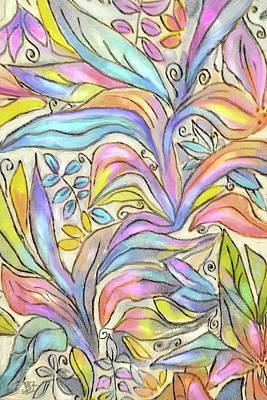 Digital Art - Pastel Leaves by Jean Batzell Fitzgerald