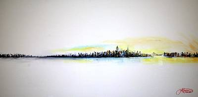 Watercolor Typographic Countries - Pastel Morning by Jack Diamond