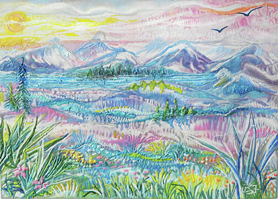Painting - Pastel Mountain Country by Jean Batzell Fitzgerald