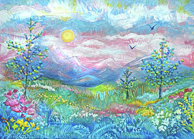 Painting - Pastel Mountain Valley by Jean Batzell Fitzgerald