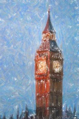 Water Tower Place Painting - Pastel Painting Of Big Ben Tower In London by Celestial Images