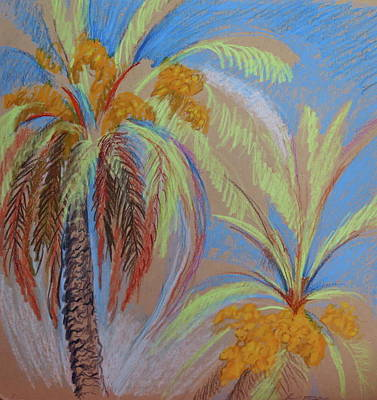 Fronds Drawing - Pastel Palms by Bonnie See