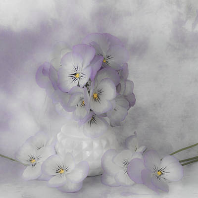 Pastel Pansies Still Life Art Print by Sandra Foster