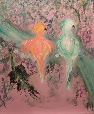 Painting - Pastel Parrots In Abstraction - Part 2 by Michela Akers