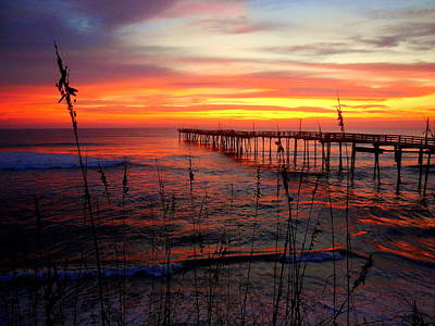 Photograph - Pastel Pier Sea Oat Sunrise 1 121315 by Mark Lemmon