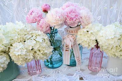 Pastel Pink Peonies Shabby Chic Art - Spring Flower Garden Peonies Hydrangeas In Vintage Jars Art Print by Kathy Fornal