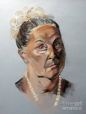 Painting - Pastel Portrait Of A Lovely Older Woman by Greta Corens