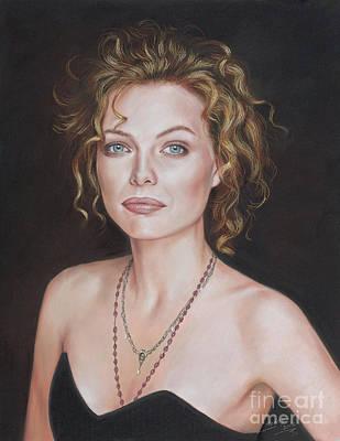 Pastel Portrait Of Amazing Michelle Pfeiffer Art Print by Teodor Bozhinov