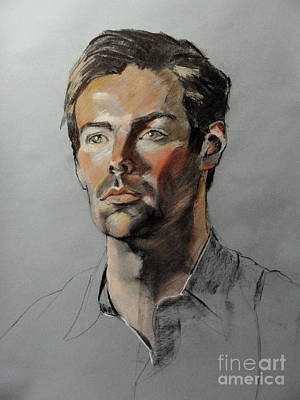 Painting - Pastel Portrait Of Handsome Guy by Greta Corens