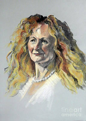 Painting - Pastel Portrait Of Woman With Frizzy Hair by Greta Corens
