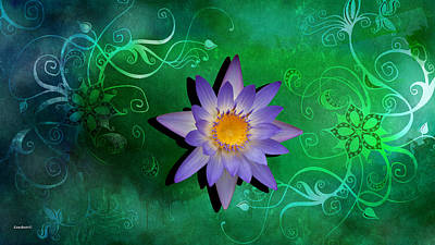 Photograph - Pastel Purple Water Lily On A Green Background by Gary Crockett