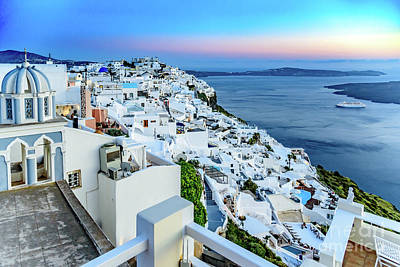 Photograph - Pastel Santorini Caldera View At Sunset - Santorini, Greece by Global Light Photography - Nicole Leffer