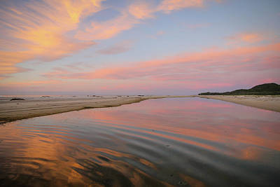 Photograph - Pastel Skies And Beach Lagoon Reflections by Keiran Lusk