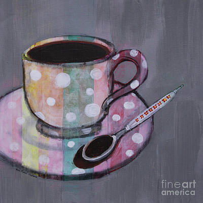 Art Print featuring the painting Pastel Stripes Polka Dotted Coffee Cup by Robin Maria Pedrero