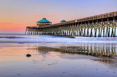 Pastel Sunrise On Folly Beach Pier In Charleston South Carolina Art Print