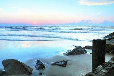 Photograph - Pastel Sunrise Over Folly Beach Charleston South Carolina by Carol Montoya