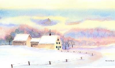 Mt Chocorua Painting - Pastel Winter by Roseann Meserve