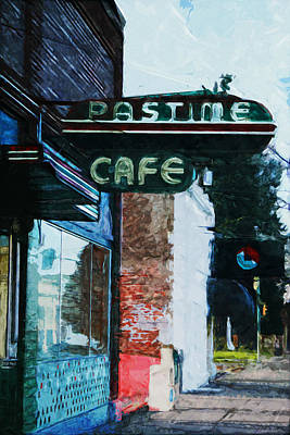Mixed Media Rights Managed Images - Pastime Cafe- Art by Linda Woods Royalty-Free Image by Linda Woods