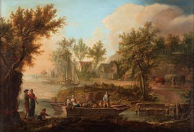 Pastoral Landscape With Figures And Boat Art Print