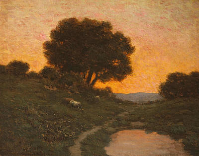 California Painter Painting - Pastoral Scene At Sunset  by Granville Redmond
