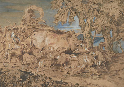 Drawing - Pastoral Scene - Nomads With Sheep And Cattle by Giovanni Benedetto Castiglione
