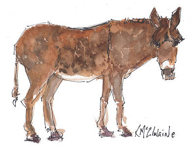 Pasture Boss 2015 Watercolor Painting By Kmcelwaine Art Print by Kathleen McElwaine