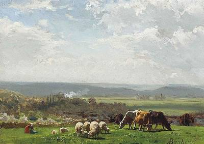 Sheep Painting - Pasture In Auvergne by Auguste Bonheur