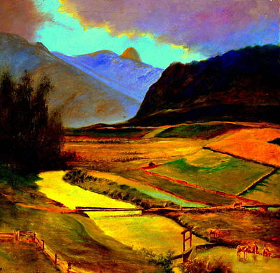 Pasture In The Mountains Art Print