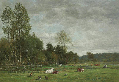 Field. Cloud Painting - Pasture Near Honfleur by Eugene Louis Boudin