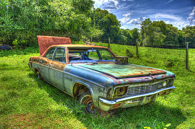 Pasture Rainbow 1966 Chevy Impala 327 Art Print