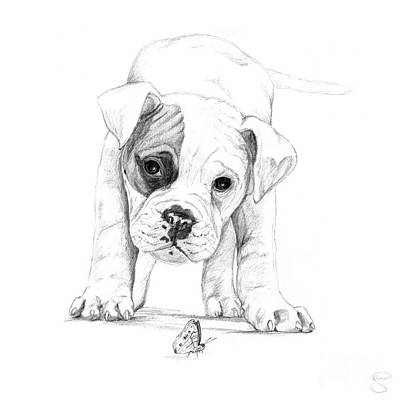 Cute Boxer Digital Art - Patch A Boxer Puppy by Stacey May