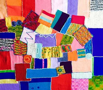 Stitches Painting - Patches  by Blue Efrat