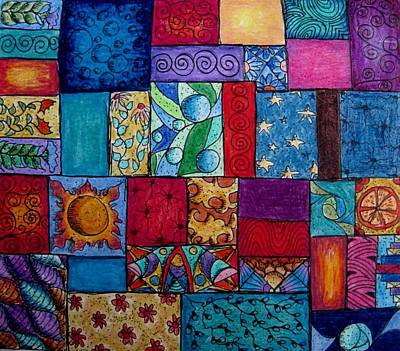 Colored Pencil Abstract Drawing - Patchwork 3 by Megan Walsh