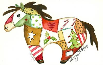 Christmas Greeting Painting - Patchwork Christmas Horse by Stormy Logan