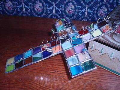 Glassart Glass Art - Patchwork Cross by Liz Lowder