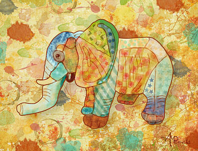 Elephant Mixed Media - Patchwork Elephant by Angeles M Pomata