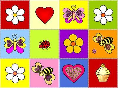 Cupcake Love Digital Art - Patchwork Friends by Geraldine Cote