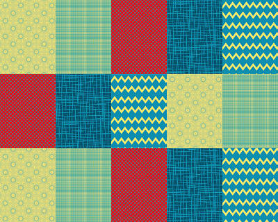 Digital Art - Patchwork Patterns - Muted Primary by Shawna Rowe