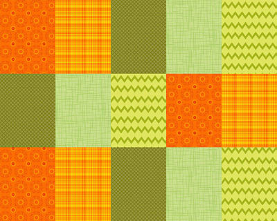 Digital Art - Patchwork Patterns - Orange And Olive by Shawna Rowe