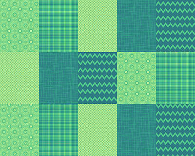 Digital Art - Patchwork Patterns - Seafoam Green by Shawna Rowe